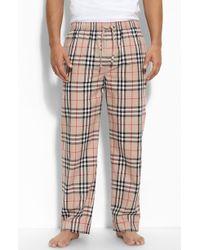 Burberry Checkprint Pajama Pants beige - Lyst