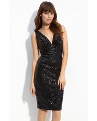 Eliza J Sequin V-neck Sheath Dress - Lyst