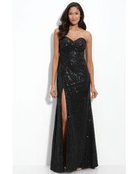 La Femme Strapless Sequin Gown black - Lyst