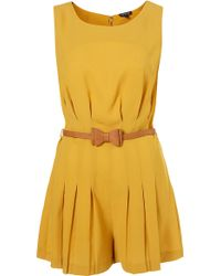 Topshop Pleat Bow Belted Playsuit - Lyst