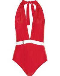 Miu Miu Bow-embellished Halterneck Swimsuit - Red
