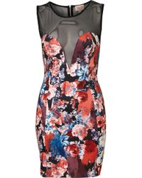 Topshop Print Mesh Panel Bodycon Dress By Dress Up - Lyst