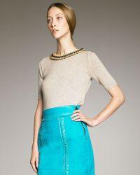 Burberry Prorsum Bead-neck Knit Cashmere Top - Lyst