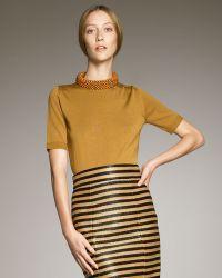 Burberry Prorsum - Bead-neck Short-sleeve Sweater - Lyst