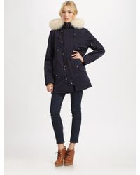 A.P.C. Fur-trimmed Hooded Parka blue - Lyst