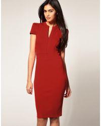 ASOS Collection Asos Ponti Pencil Dress with Zip Detail - Lyst
