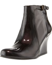 Lanvin Patent Wedge Ankle Boot - Lyst
