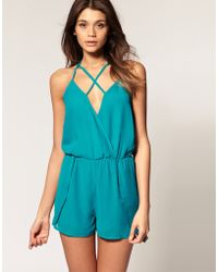 ASOS - Asos Playsuit with Strappy Back Detail - Lyst