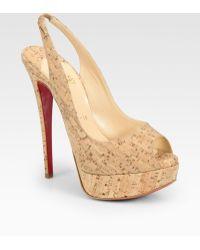Christian Louboutin Lady Cork Peep Toe Slingback Platform Pumps beige - Lyst