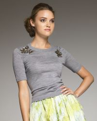 Lela Rose Floral-detailed Sweater - Lyst