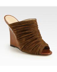 Manolo Blahnik Ruched Suede Wedge Sandals - Brown