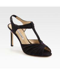 Manolo Blahnik Suede T-strap Slingback Sandals - Lyst