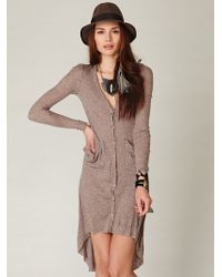 Free People Ribbed Up Maxi Cardigan - Lyst
