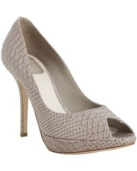 Dior Fango Python Embossed Leather Miss Peep Toe Pumps gray - Lyst