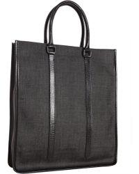 Fendi Black Zucca Spalmati Leather Detail Tote - Lyst