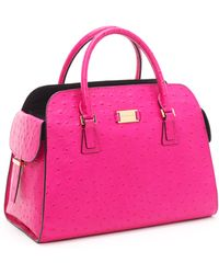 Michael Kors Gia Ostrich-embossed Leather Satchel, Neon Pink - Lyst