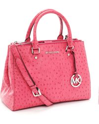 Michael Kors - Medium Bedford Ostrich Embossed Dressy Tote, Electric Pink Ostrich - Lyst