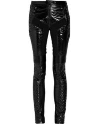Burberry Prorsum - Glossed-leather Motocross Trousers - Lyst