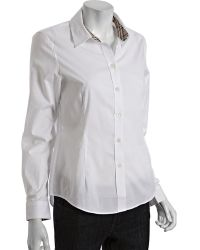 Burberry London White Stretch Cotton Point Collar Dress Shirt - Lyst