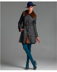 Dolce & Gabbana - Grey Plaid Wool Blend Kangaroo Fur Collar Coat - Lyst