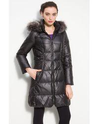 Elie Tahari Britney Down Coat with Fox Fur Trim - Lyst