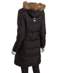 MICHAEL Michael Kors Black Quilted Nylon Down Filled Faux Fur Trimmed Hooded Three Quarter Parka - Lyst