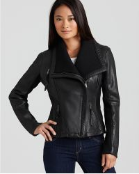 Michael Kors Michael Wing Collar Knit Detail Leather Jacket - Lyst