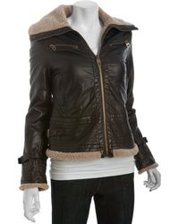 Miss Sixty | Brown Faux Leather Faux Shearling Aviator Jacket | Lyst