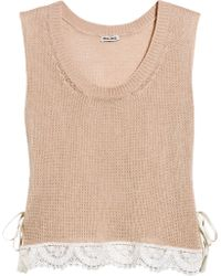 Miu Miu Lace-trimmed Cotton Tank - Pink
