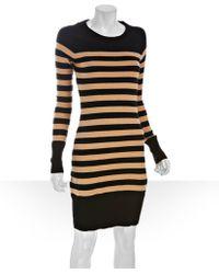 Qi - Camel Striped Cotton-cashmere Knit Sweater Dress - Lyst