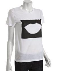 Saint Laurent White Cotton Logo Graphic T-shirt - Lyst