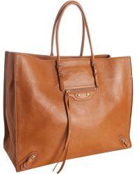 Balenciaga Brown Leather Papier Tote - Lyst