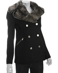 Laundry by Shelli Segal Black Wool Blend Double Breasted Faux Fur Trimmed Jacket - Lyst
