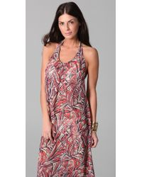 Josa Tulum - Chiffon Low Back Halter Cover Up Dress - Lyst