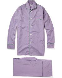 Turnbull & Asser Stripe Pyjamas with Piping - Purple