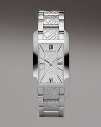 Burberry Watches Check-engraved Rectangular Watch, Silvertone - Lyst