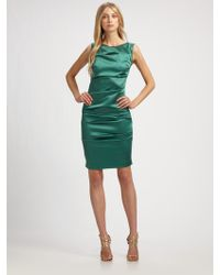 Nicole Miller Stretch Satin Dress - Lyst