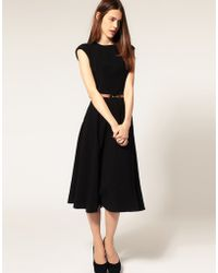 ASOS Collection Asos Midi Dress with Contrast Belt - Lyst