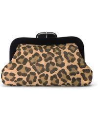 Lulu Guinness Leopard Print Large Calf Hair Pollyanna Clutch - Lyst