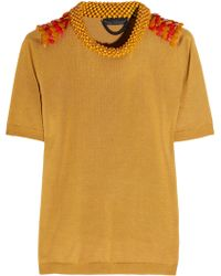 Burberry Prorsum - Embellished Silk and Cotton-blend Top - Lyst