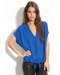 Joie Baxter Dolman Sleeve Tie Front Silk Blouse blue - Lyst