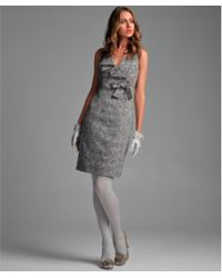 RED Valentino Grey Wool Blend Tweed Ruffle and Bow Detail V-neck Dress - Lyst