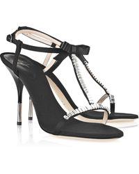 Giuseppe Zanotti Crystal-embellished Grosgrain Sandals - Lyst