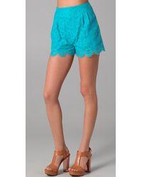Rebecca Minkoff - Haley Cutout Lace Shorts - Lyst