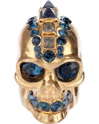 Alexander McQueen Punk Skull Cocktail Ring gold - Lyst