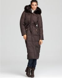 Ellen Tracy Belted Maxi Coat with Fox Fur Trim Hood - Lyst