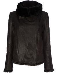Helmut Lang Flux Fur Spanish Rabbit Reversible Jacket in Black