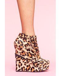 Nasty Gal Mercer Wedge Boot - Leopard Pony - Lyst