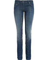 Roberto Cavalli Crystal-embellished Mid-rise Skinny Jeans - Lyst