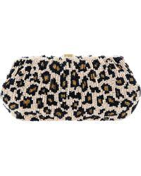 Santi Leopard Print Beaded Clutch Bag - Multicolour